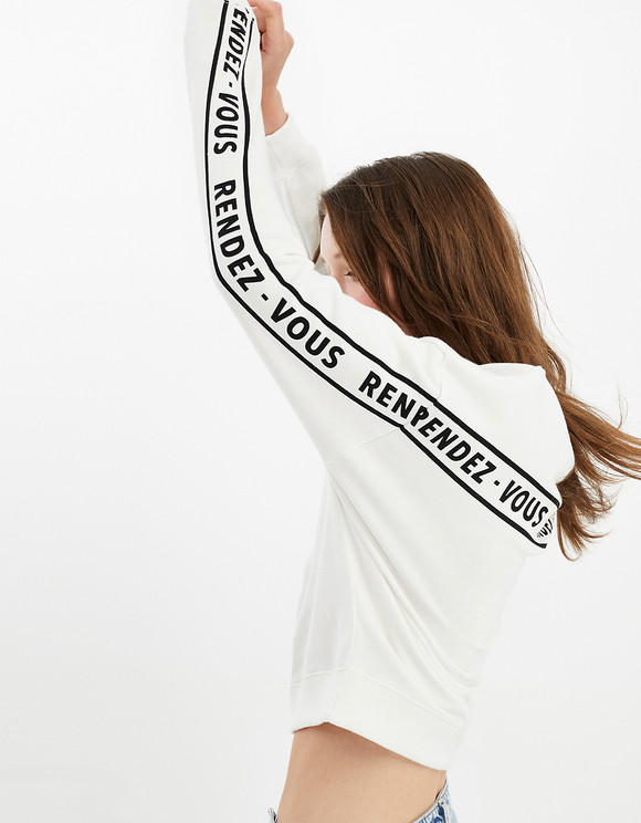 White Sweatshirt with Slogan