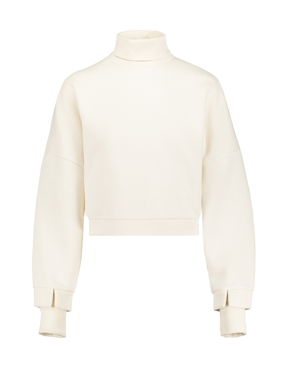 Beige Sweatshirt with High Neck