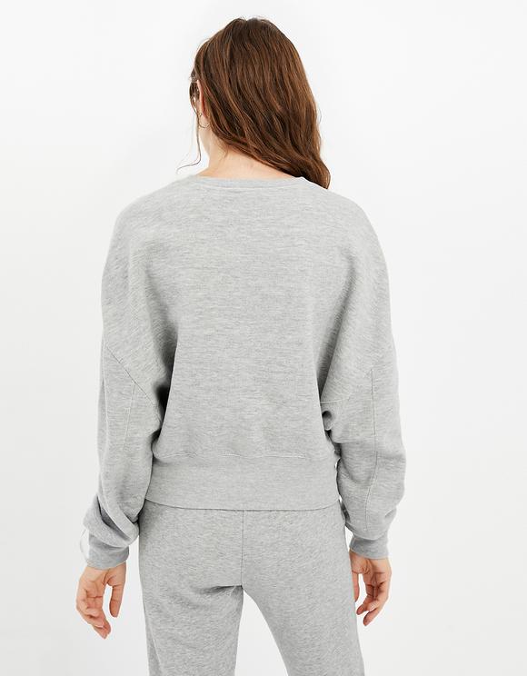 Grey Sweatshirt with Batwing Sleeves