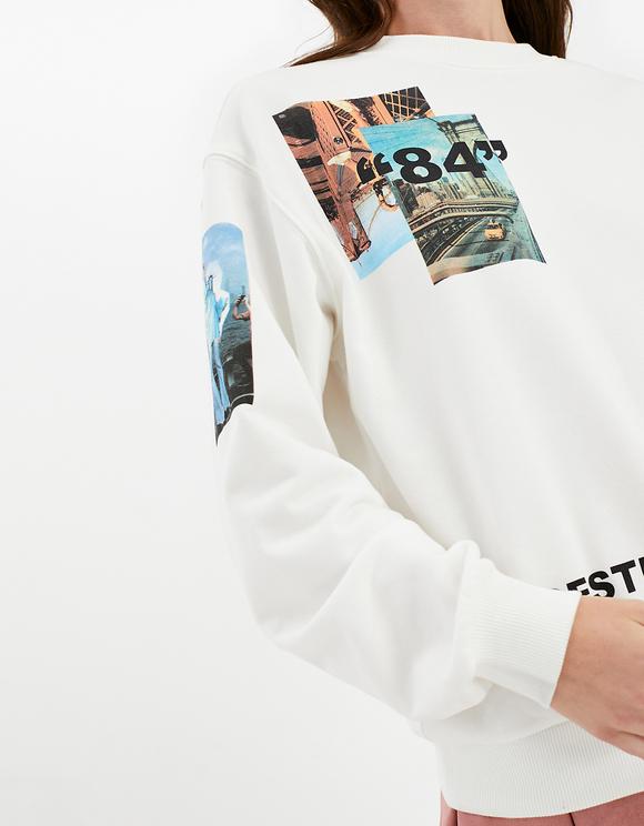 White Sweatshirt with Print