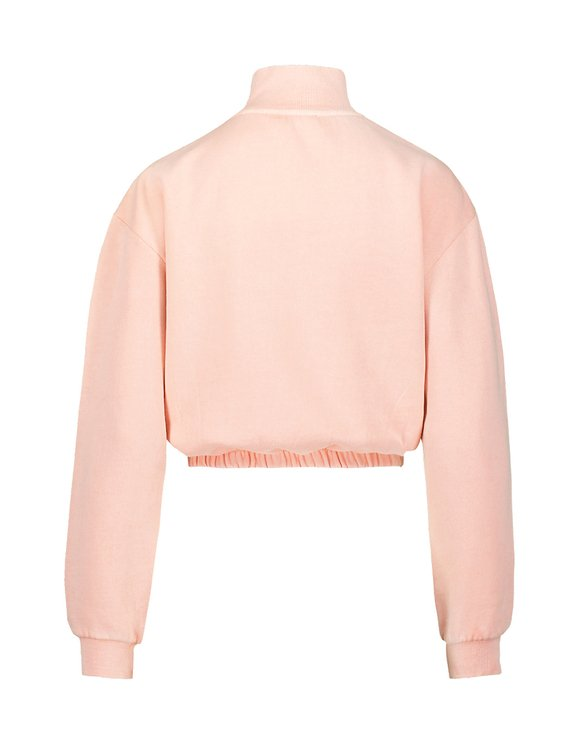 Washed Pink Zip Neck Sweatshirt