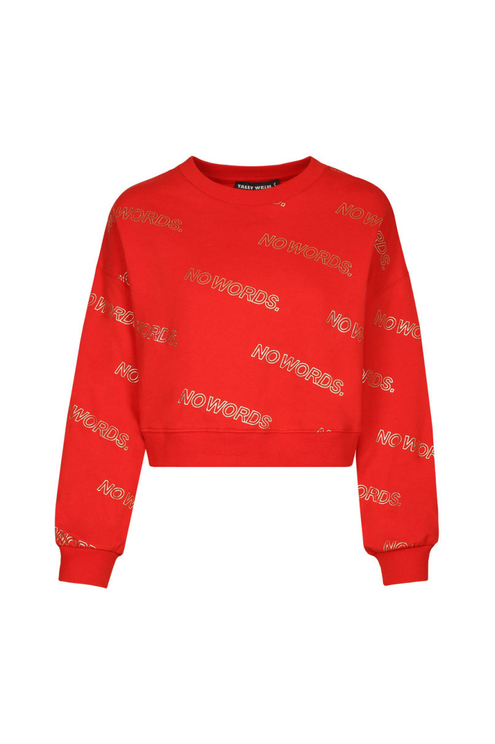 """Orange-Red """"No Words"""" Sweatshirt"""