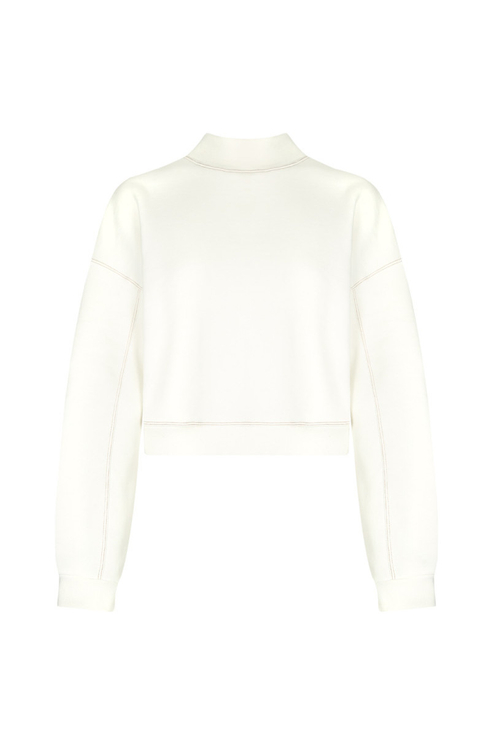 White Cropped Sweatshirt