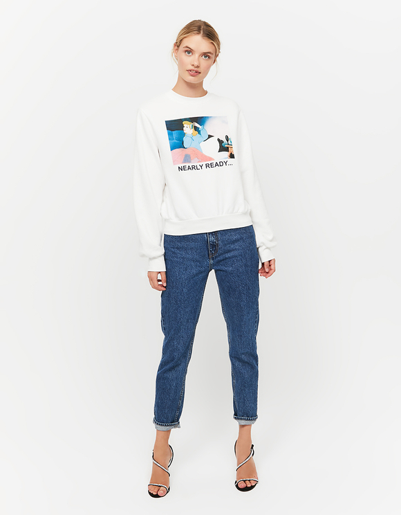 White Sweatshirt with Disney Meme