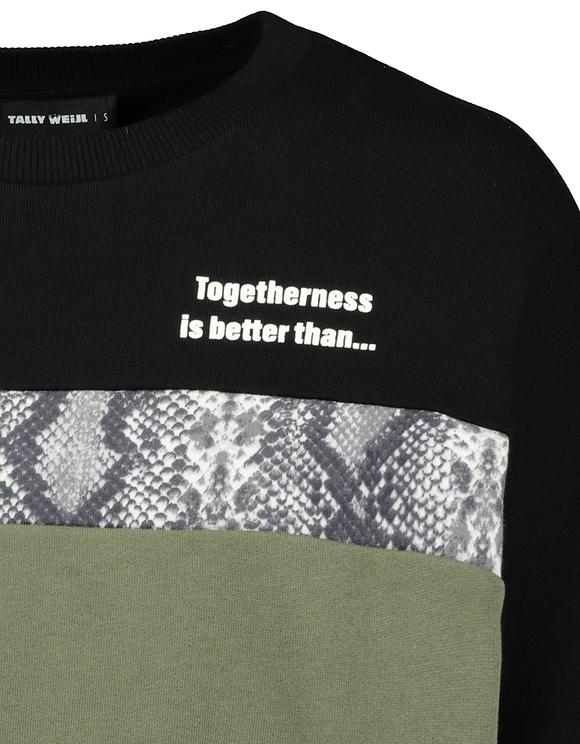 Sweat Color Block à Slogan
