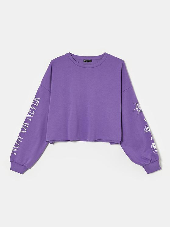 Purple Printed Sweatshirt