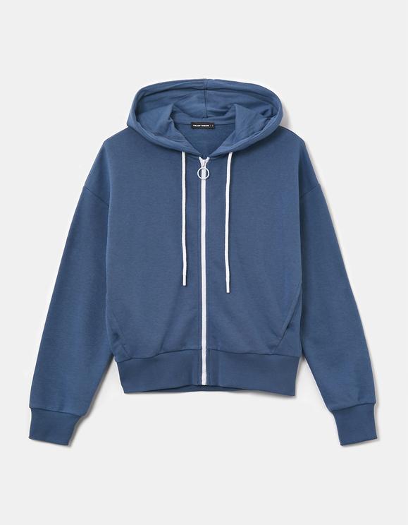 Sweat à Capuche Bleu Zippé