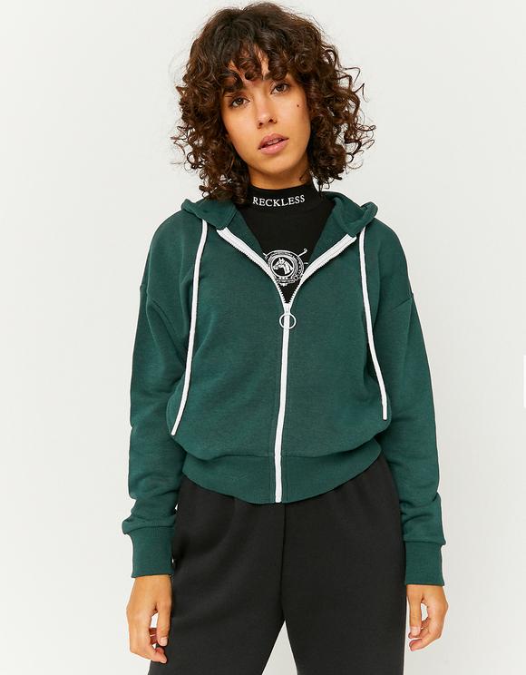 Zielona rozpinana bluza z kapturem