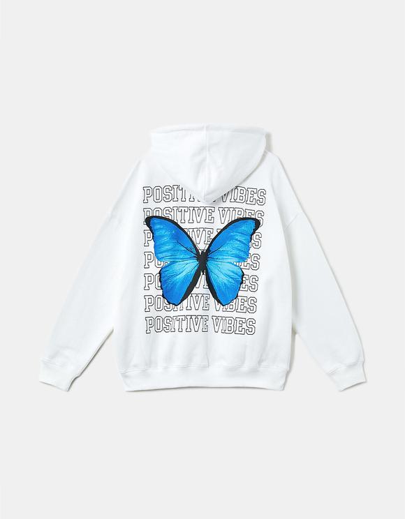 Butterfly Print Zipped Hoodie