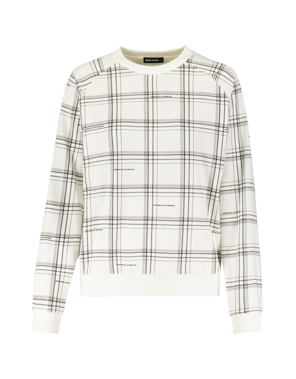 White Checked Sweatshirt