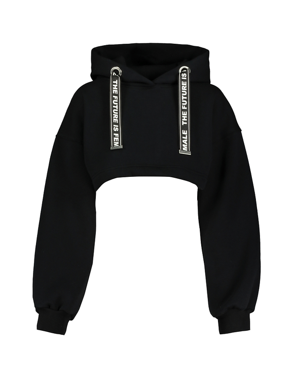 Czarna bluza z kapturem Cropped