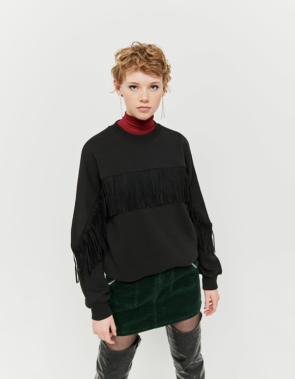 Black Sweatshirt with Suede Fringes