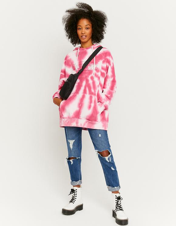 Pink Tie Dye Loose Hoodie