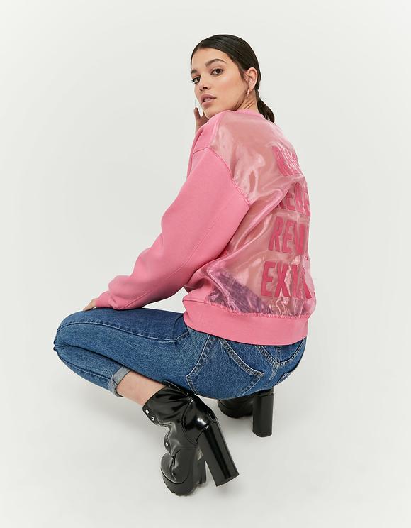 Pinkes Sweatshirt mit Rücken aus Organza