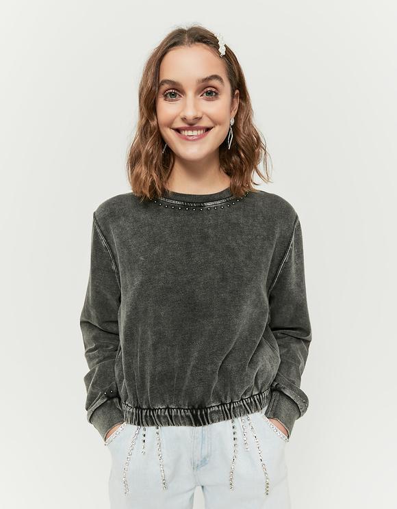 Graue Sweatshirt mit Nieten