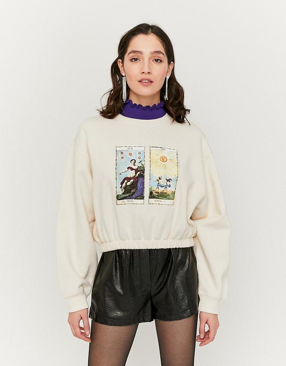 White Astro Print Sweatshirt