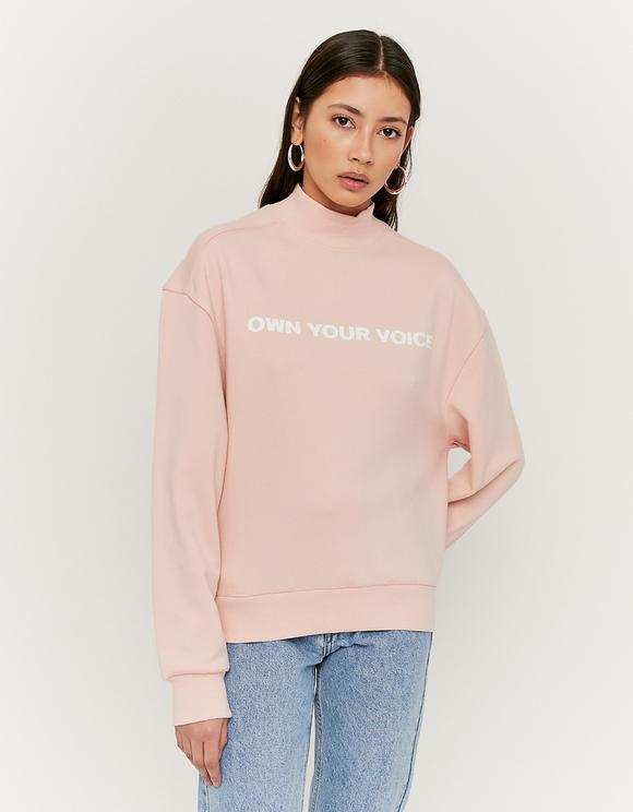 Różowa bluza z napisem