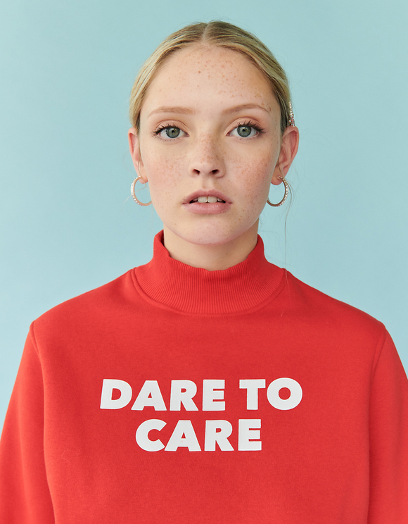 Orange Sweatshirt with Slogan