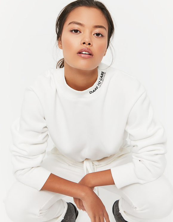 White Sweatshirt with Drawstring