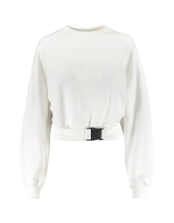 White Sweatshirt with Buckle
