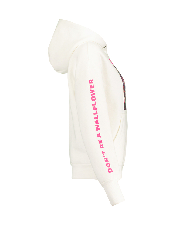 Sweat à Capuche Blanc Imprimé