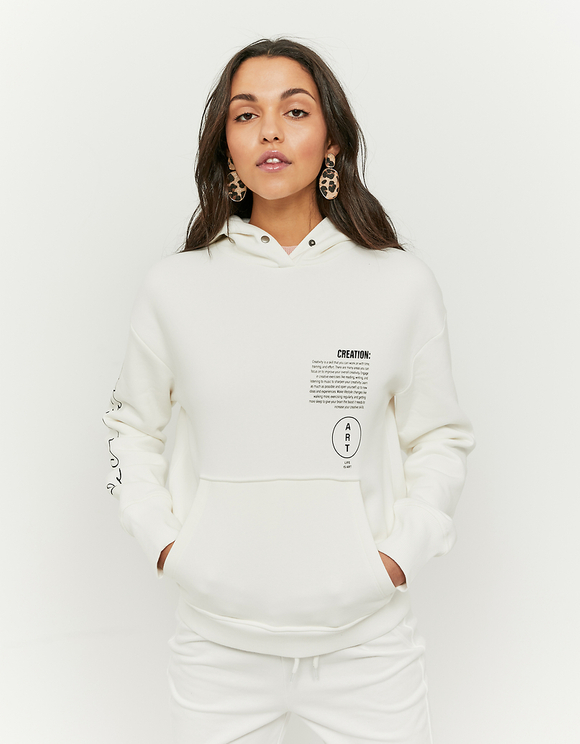 White Print Hoodie