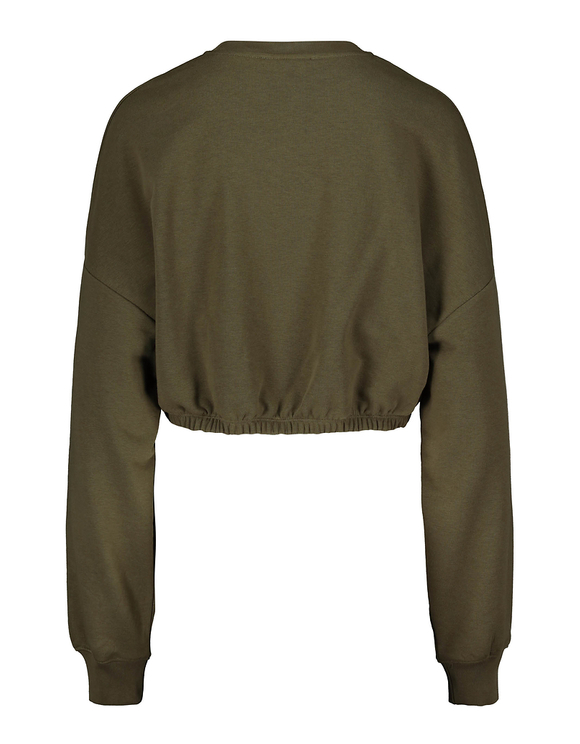 Khaki Sweatshirt with Satin