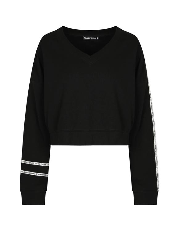 Schwarzes Sweatshirt mit Slogan