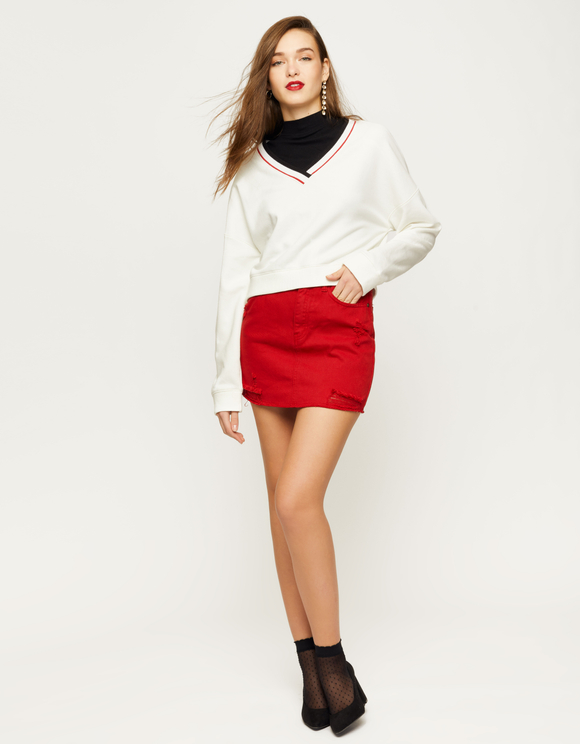 White Stripe Collar Sweatshirt