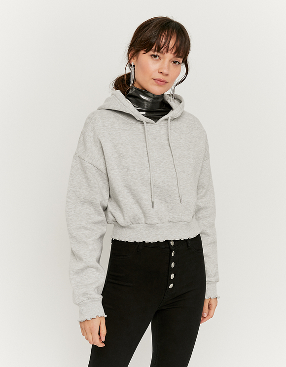 Grey Cropped Zipped Hoodie