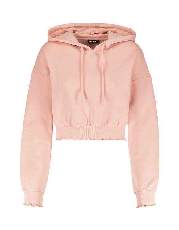 Pink Cropped Zipped Hoodie