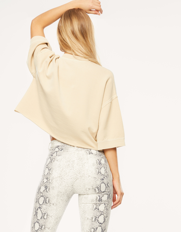 Beige Crop Sweatshirt