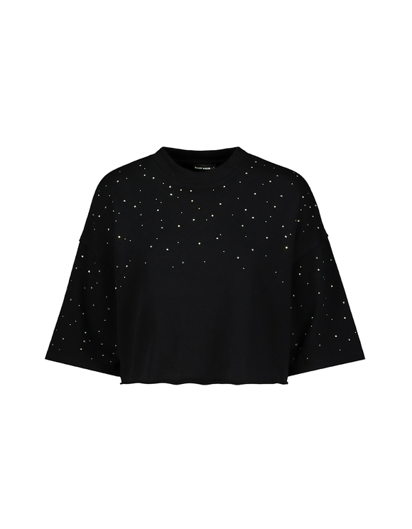 Black Cropped Sweatshirt with Strass