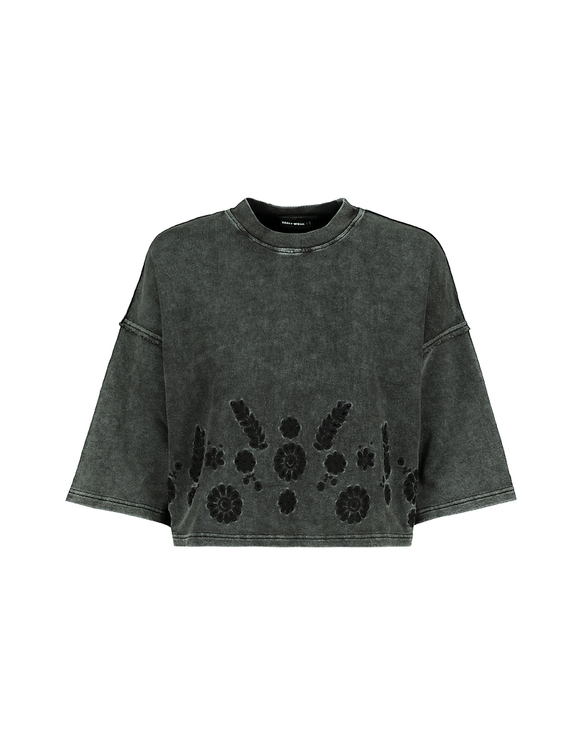 Sweat T-Shirt Gris Délavé