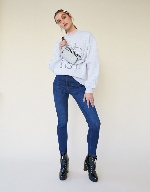Grey Angel Print Sweatshirt