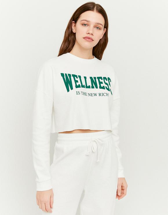 Printed Waffle Cropped Sweatshirt
