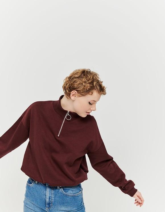Bordeauxrotes Sweatshirt mit Kordelzug