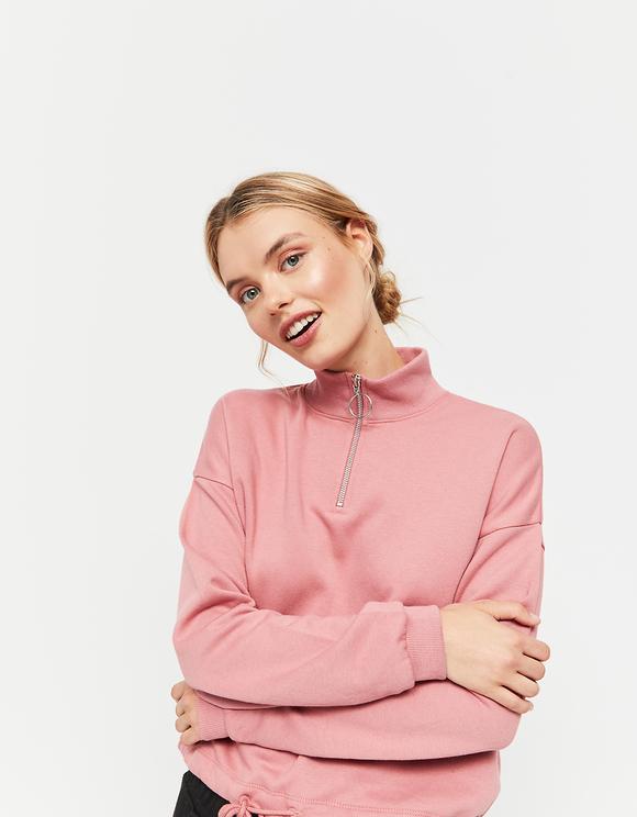 Pink Sweatshirt with Drawstring