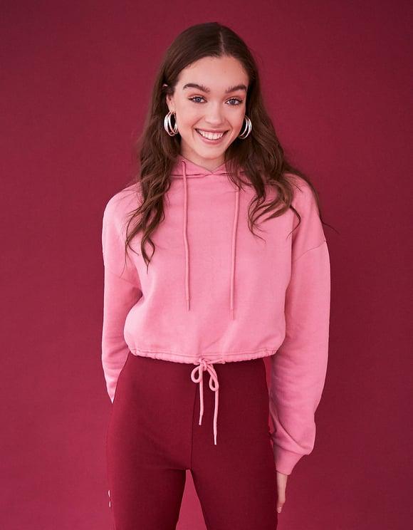 Pink Drawstring Waist Sweatshirt