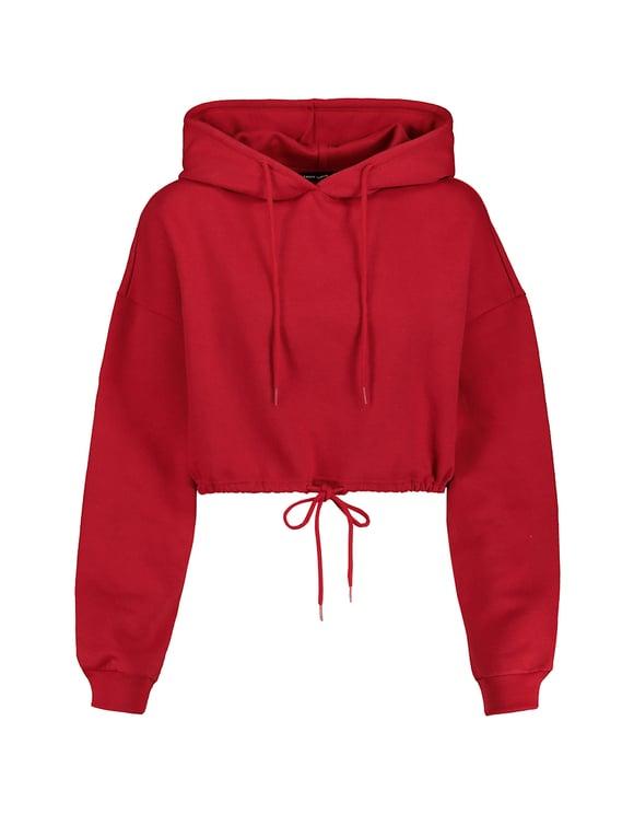 Red Drawstring Waist Sweatshirt