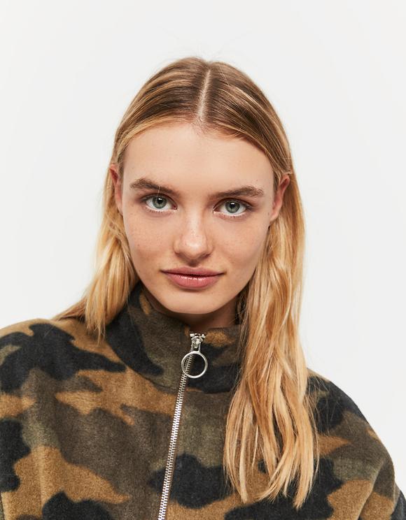 Camouflage Sweatshirt with Drawstring
