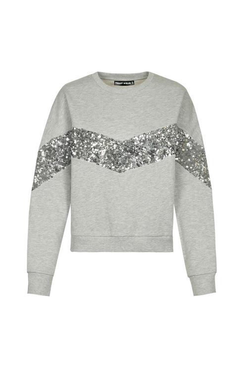 Graues Pailletten-Sweatshirt
