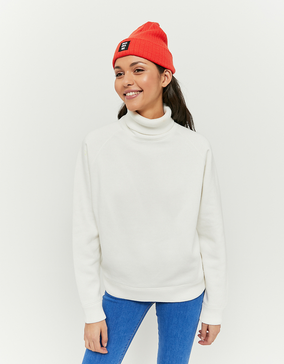 Sweat Blanc Col Montant