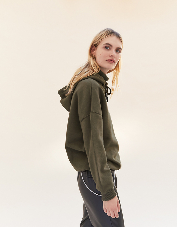 Khaki Hoodie with Knitted Detail