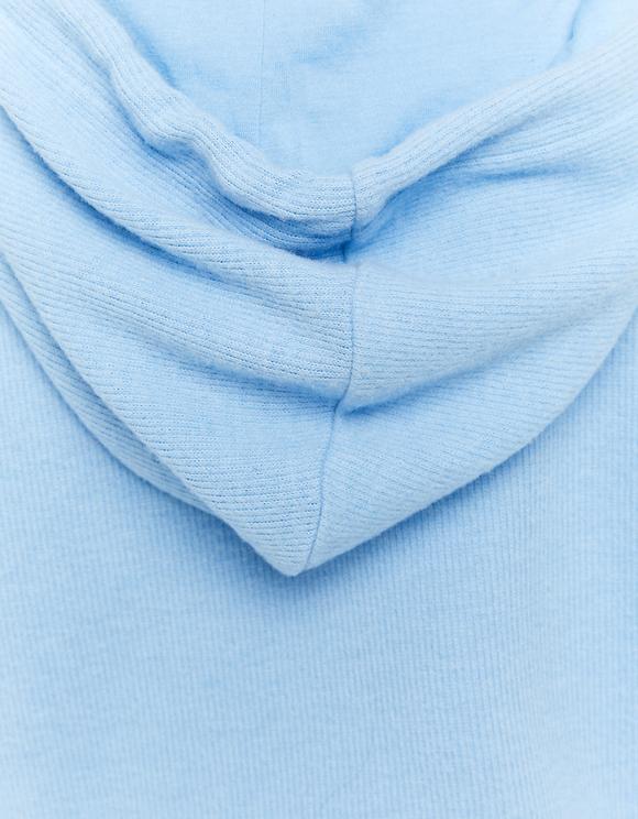Felpa Blu con Cappuccio e Slogan