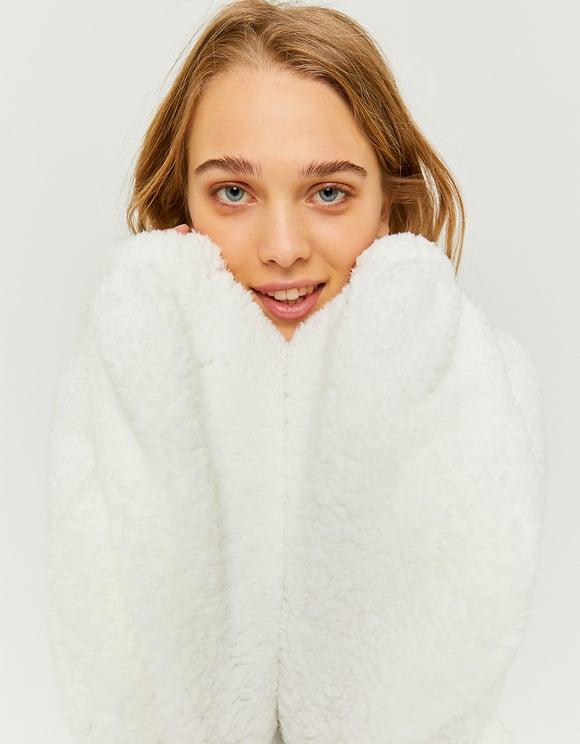 Sweat Blanc Duveteux à Zip