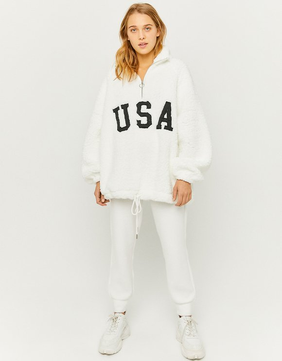 White Fluffy Zip Sweatshirt