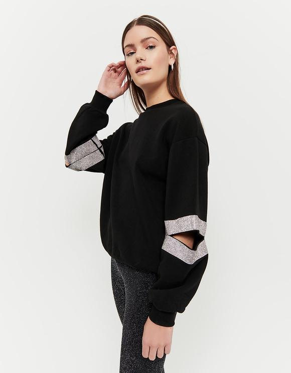 Sweatshirt mit Strass und Cut Outs