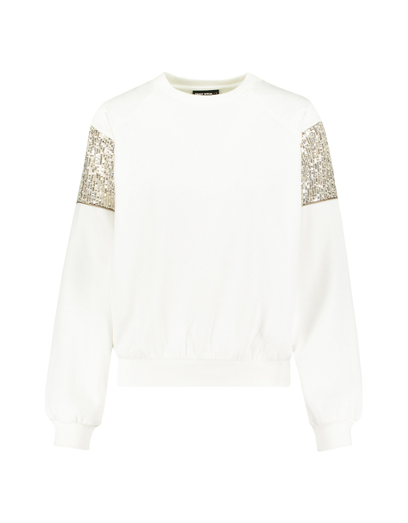 White Sweatshirt with Sequins