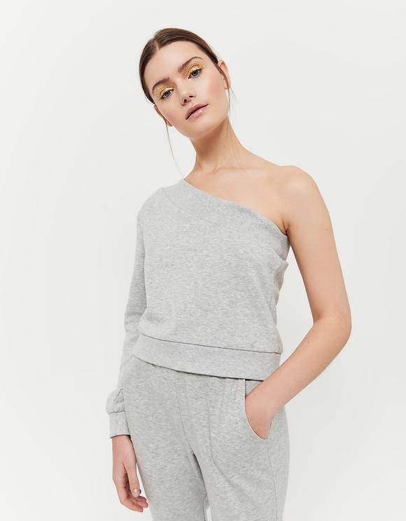 Asymmetrisches Sweatshirt mit Strass